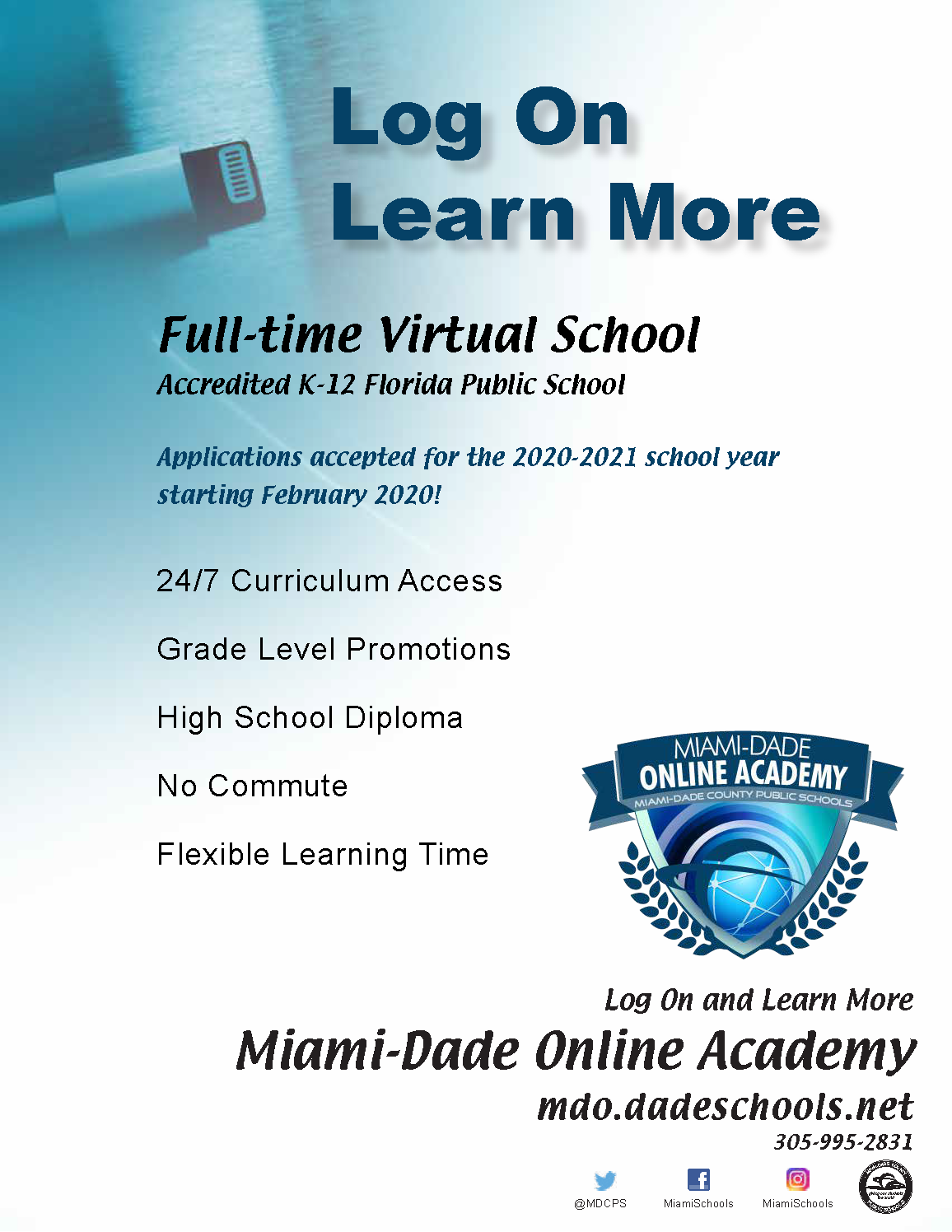 2020-2021 Open Enrollment Period for District's Full-Time Virtual School flyer